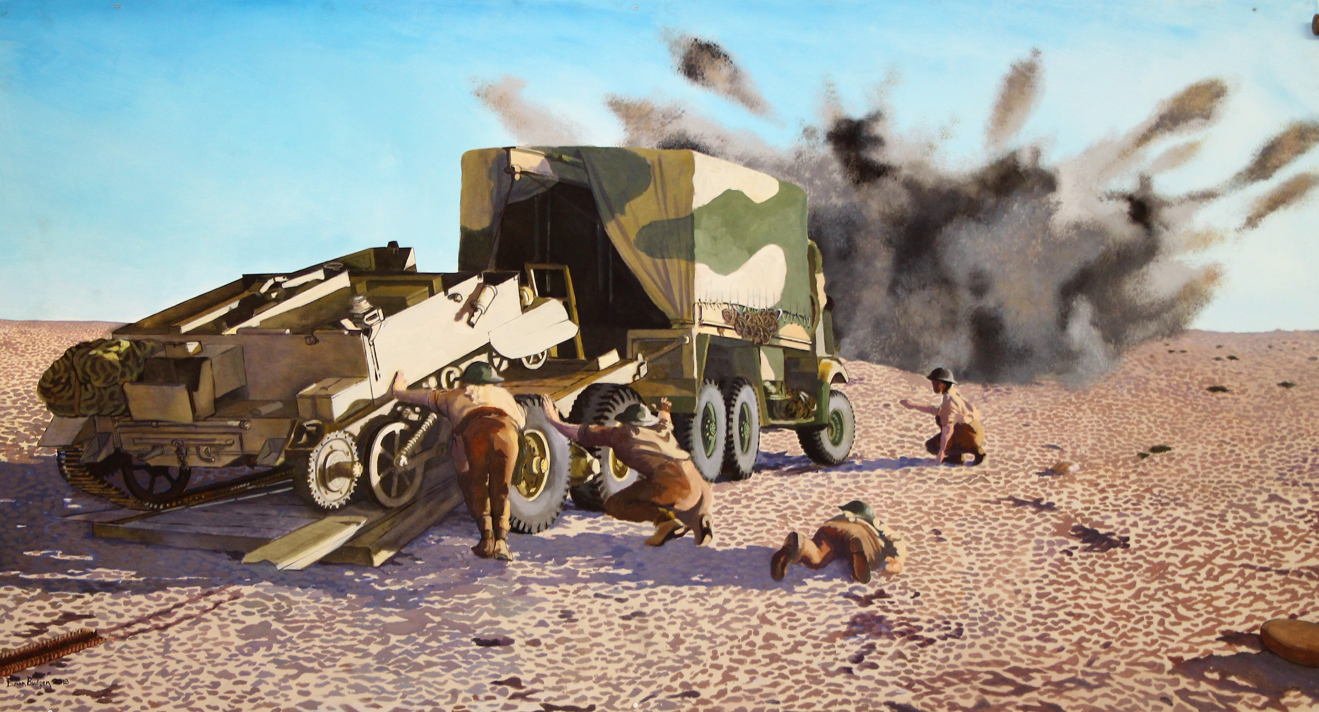 Painting in Museum of RAEME members recovering vehicles under fire at Tobruk